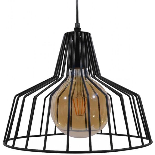 Vintage Industrial Κρεμαστό Φωτιστικό Οροφής Μονόφωτο Μαύρο Μεταλλικό Πλέγμα Καμπάνα Φ30 GloboStar TERE 01165 - 3