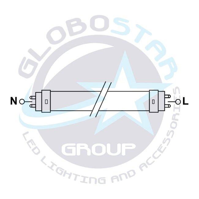 GloboStar® 76185 Λάμπα LED Τύπου Φθορίου T8 Αλουμινίου Τροφοδοσίας Δύο Άκρων 120cm 20W 230V 1800lm 180° με Καθαρό Κάλυμμα Θερμό Λευκό 3000k - 4