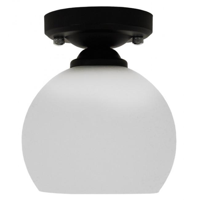 Μοντέρνο Φωτιστικό Οροφής Μονόφωτο Μαύρο με Λευκό Ματ Γυαλί Καμπάνα Φ13 GloboStar MAURA 01318 - 3