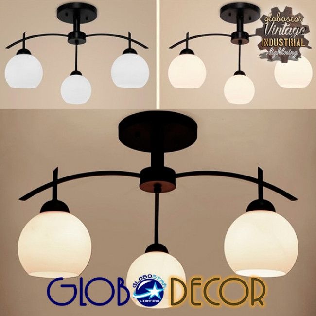Μοντέρνο Φωτιστικό Οροφής Τρίφωτο Μαύρο Μεταλλικό με Λευκό Γυαλί Φ45 GloboStar LUNA 01087 - 2