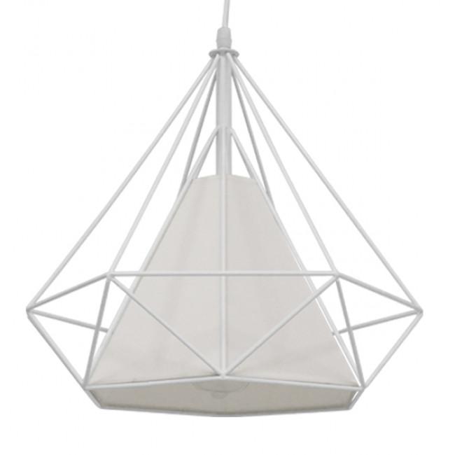 Μοντέρνο Industrial Κρεμαστό Φωτιστικό Οροφής Μονόφωτο Λευκό με Ύφασμα Μεταλλικό Πλέγμα Φ38 GloboStar KAIRI WHITE 01619 - 1