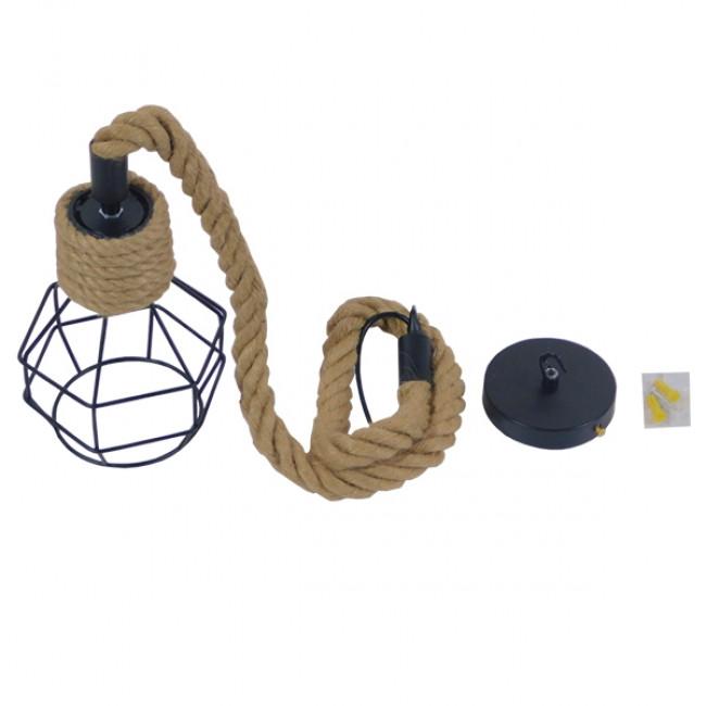 Vintage Industrial Κρεμαστό Φωτιστικό Οροφής Μονόφωτο Μαύρο Μεταλλικό Πλέγμα με Μπεζ Σχοινί Φ16 GloboStar HELLET 01182 - 9