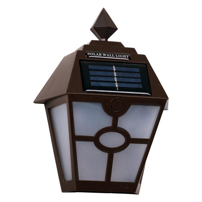 71493 Αυτόνομο Ηλιακό Φωτιστικό Τοίχου Καφέ LED SMD 1W 100lm με Ενσωματωμένη Μπαταρία 600mAh - Φωτοβολταϊκό Πάνελ με Αισθητήρα Ημέρας-Νύχτας IP65 Ψυχρό Λευκό 6000K - 6