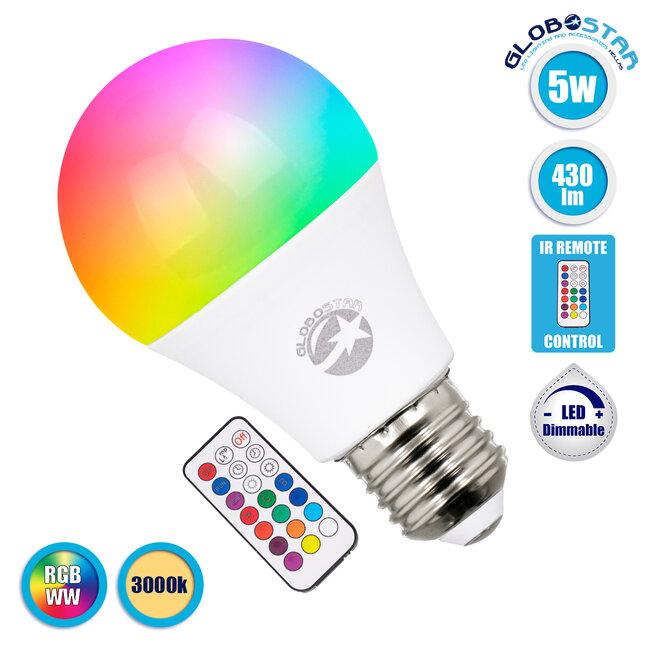76069 Λάμπα E27 A60 LED 5W 430lm 260° AC 85-265V Γλόμπος με Ασύρματο Χειριστήριο IR RGB & Θερμό Λευκό 3000K Dimmable - 1
