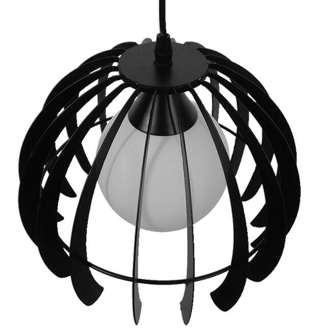 Μοντέρνο Κρεμαστό Φωτιστικό Οροφής Μονόφωτο Μαύρο Μεταλλικό Πλέγμα με Λευκό Γυαλί Φ26  INGLEY 01226 - 5