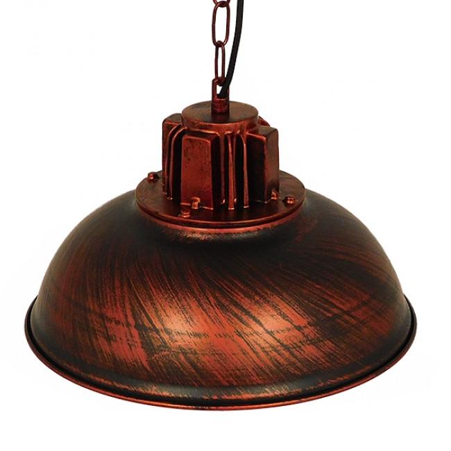 Vintage Industrial Κρεμαστό Φωτιστικό Οροφής Μονόφωτο Καφέ Σκουριά Μεταλλικό Πλέγμα Φ33 GloboStar HARROW IRON RUST 01572 - 5