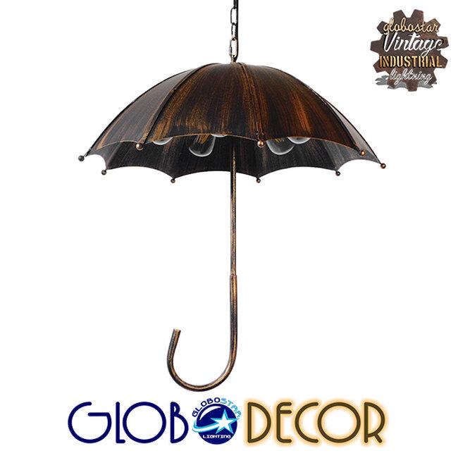 Vintage Industrial Κρεμαστό Φωτιστικό Οροφής Πολύφωτο Μαύρο Καφέ Σκουριά Μεταλλικό Φ58  UMBRELLA BLACK 01406 - 1