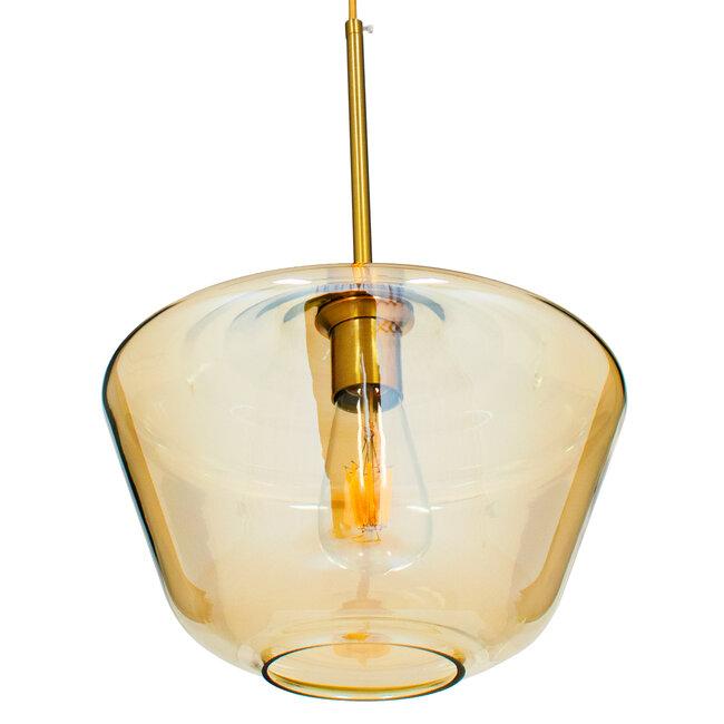 GloboStar® AMARIS 00870 Μοντέρνο Κρεμαστό Φωτιστικό Οροφής Μονόφωτο Γυάλινο Φιμέ Μελί Φ30 x 22CM - 5