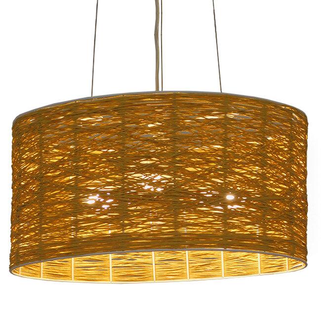 Vintage Κρεμαστό Φωτιστικό Οροφής Μονόφωτο Καφέ Ξύλινο Bamboo Φ40  MADAGASKAR 01630 - 2