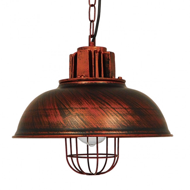 Vintage Industrial Κρεμαστό Φωτιστικό Οροφής Μονόφωτο Καφέ Σκουριά Μεταλλικό Πλέγμα Φ33 GloboStar HARROW IRON RUST 01572 - 3
