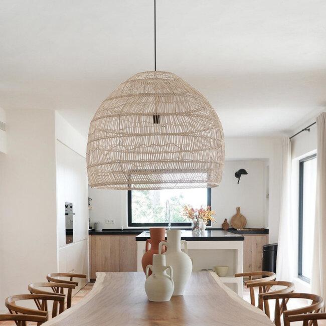 GloboStar® MALIBU 00965 Vintage Κρεμαστό Φωτιστικό Οροφής Μονόφωτο Μπεζ Ξύλινο Bamboo Φ97 x Y86cm - 9