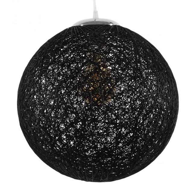 Vintage Κρεμαστό Φωτιστικό Οροφής Μονόφωτο Μαύρο Ξύλινο Ψάθινο Rattan Φ40 GloboStar CALLE 01360 - 3