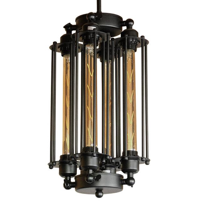 Vintage Industrial Κρεμαστό Φωτιστικό Οροφής Πολύφωτο Μαύρο Μεταλλικό Πλέγμα με Γυαλί Φ27  TUBING 01013 - 2