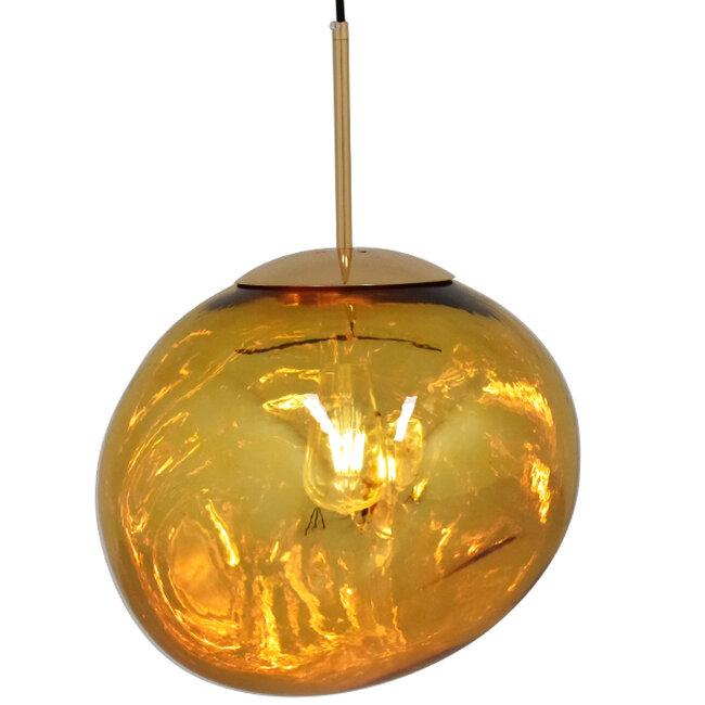 Μοντέρνο Κρεμαστό Φωτιστικό Οροφής Μονόφωτο Γυάλινο Χρυσό Φ36  DIXXON GOLD 01466 - 2
