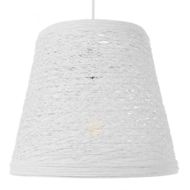 Vintage Κρεμαστό Φωτιστικό Οροφής Μονόφωτο Λευκό Ξύλινο Ψάθινο Rattan Φ32 GloboStar ARGENT 01562 - 3