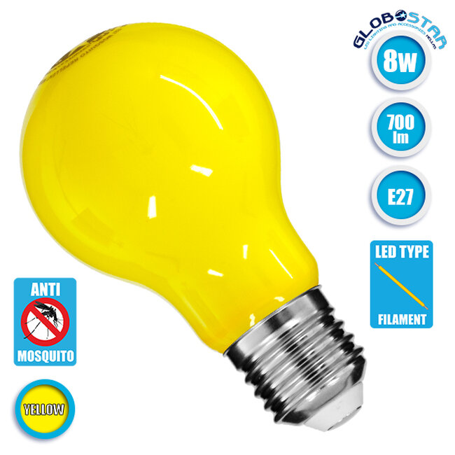 Λάμπα E27 A60 Γλόμπος LED Mosquito Repellent FILAMENT 8W 700 lm 320° AC 85-265V με Κίτρινο Γυαλί Αντικουνουπική GloboStar 99241