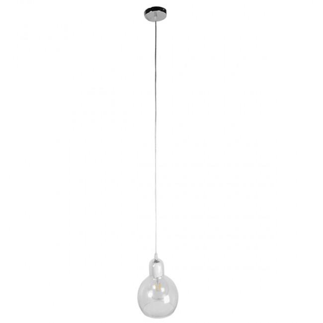 Μοντέρνο Κρεμαστό Φωτιστικό Οροφής Μονόφωτο Γυάλινο Διάφανο Φ18 GloboStar LUCREZIA 01314 - 2