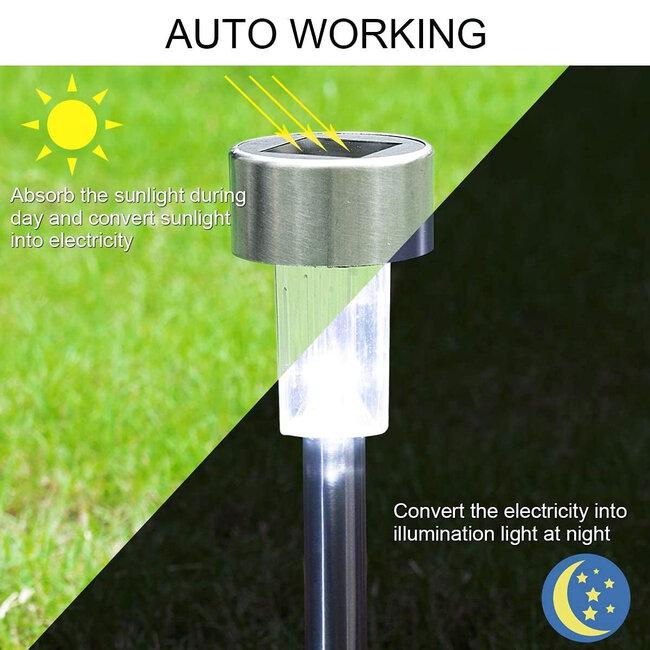 71520 Αυτόνομο Ηλιακό Φωτιστικό LED SMD 1W 100lm με Ενσωματωμένη Μπαταρία 600mAh - Φωτοβολταϊκό Πάνελ με Αισθητήρα Ημέρας-Νύχτας Αδιάβροχο IP65 Φανάρι Κήπου Στρογγυλό Ψυχρό Λευκό 6000K - 3