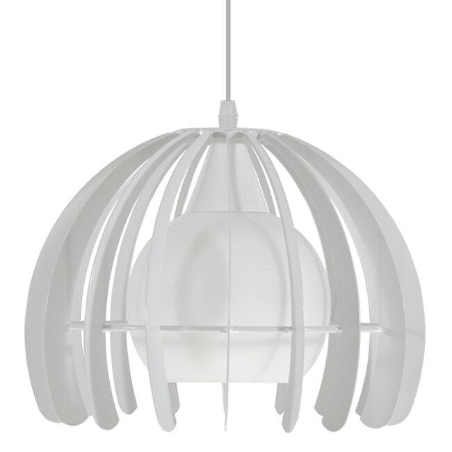 Μοντέρνο Κρεμαστό Φωτιστικό Οροφής Μονόφωτο Λευκό Μεταλλικό Πλέγμα με Λευκό Γυαλί Φ26  STEPHEN 01225 - 3