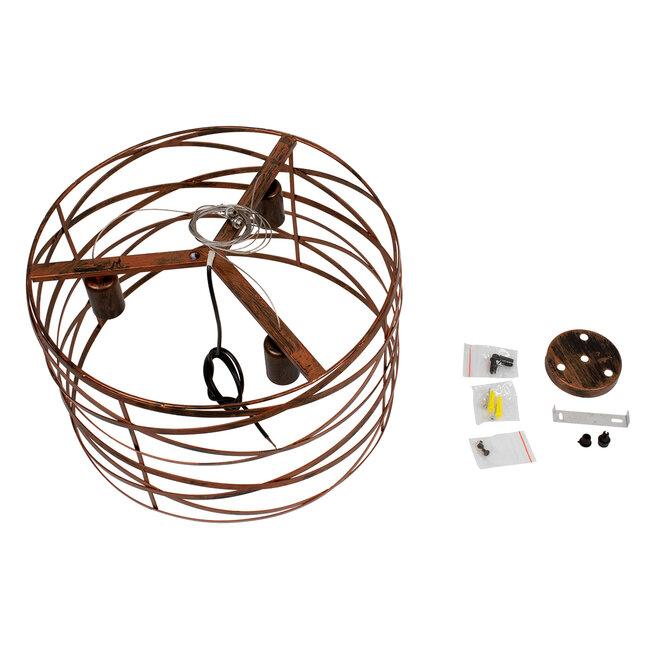 TOKEN 00856 Μοντέρνο Industrial Κρεμαστό Φωτιστικό Οροφής Τρίφωτο Καφέ Σκουριά Μεταλλικό Πλέγμα Φ43 x Υ29cm - 9