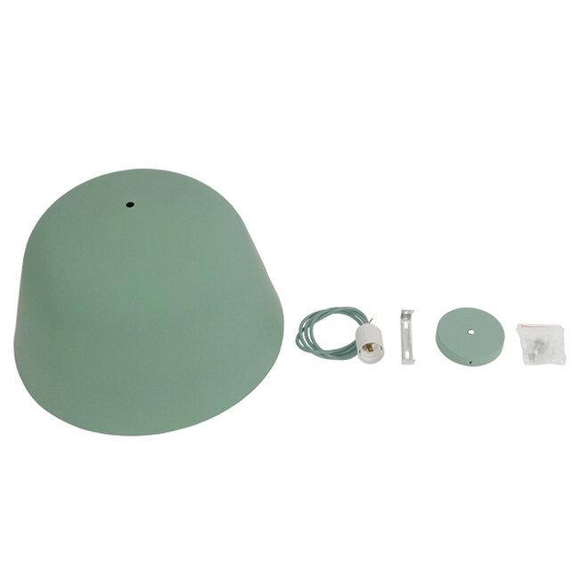 Μοντέρνο Κρεμαστό Φωτιστικό Οροφής Μονόφωτο Γκρι Πράσινο Μεταλλικό Καμπάνα Φ40  UPVALE 01285 - 9