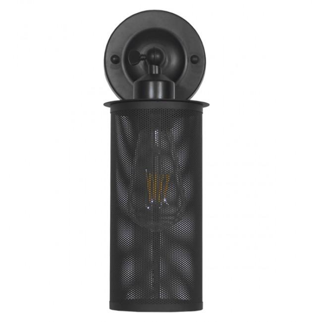 Vintage Industrial Φωτιστικό Τοίχου Απλίκα Μονόφωτο Μαύρο Μεταλλικό Πλέγμα Φ10  HOLVIA 01160 - 4