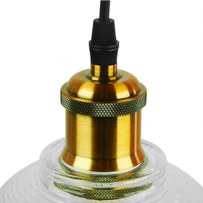 Vintage Κρεμαστό Φωτιστικό Οροφής Μονόφωτο Γυάλινο Διάφανο Καμπάνα με Χρυσό Ντουί Φ14 GloboStar SEGRETO TRANSPARENT 01447 - 6