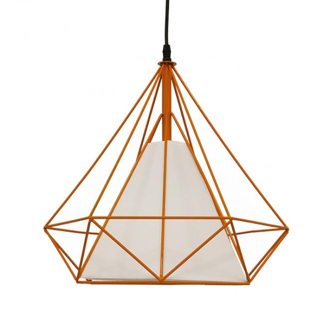 Μοντέρνο Industrial Κρεμαστό Φωτιστικό Οροφής Μονόφωτο Πορτοκαλί με Άσπρο Ύφασμα Μεταλλικό Πλέγμα Φ38  KAIRI ORANGE 01621 - 3