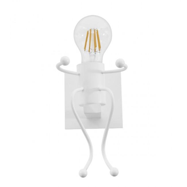 Μοντέρνο Φωτιστικό Τοίχου Απλίκα Μονόφωτο Λευκό Μεταλλικό GloboStar CLAY 01389 - 3