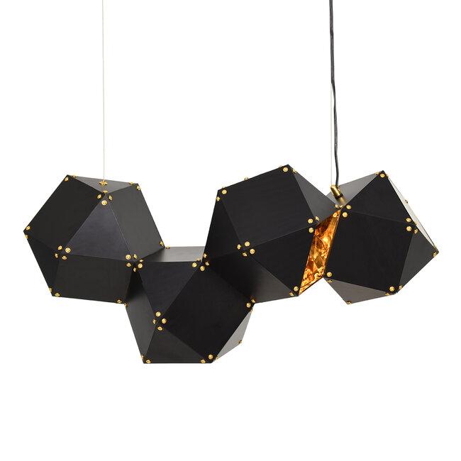 WELLES Replica 00796 Μοντέρνο Κρεμαστό Φωτιστικό Οροφής Πολύφωτο Μεταλλικό Μαύρο Χρυσό Μ68 x Π32 x Υ30cm - 2