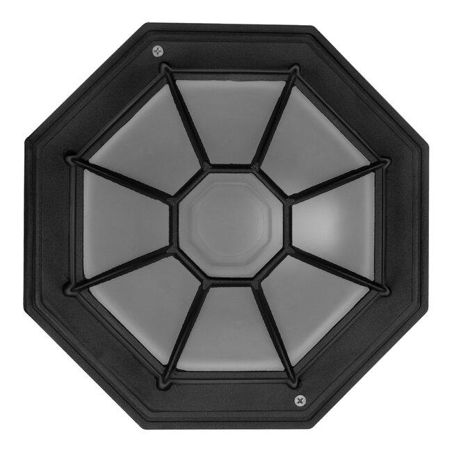 GloboStar® RUBY 00912 Vintage Μεταλλικό Φωτιστικό Πλαφονιέρα Οροφής - Απλίκα Τοίχου από Αλουμίνιο με Ντουί E27 Μονόφωτο Μαύρο με Γαλακτερό Γυαλί Μ27 x Π27 x Υ12cm - 5