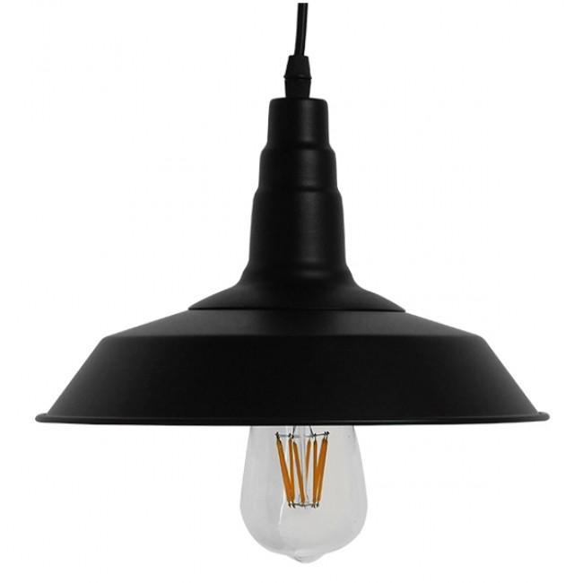 Vintage Industrial Κρεμαστό Φωτιστικό Οροφής Μονόφωτο Μαύρο Μεταλλικό Καμπάνα Φ26 GloboStar RAY BLACK 01050 - 3
