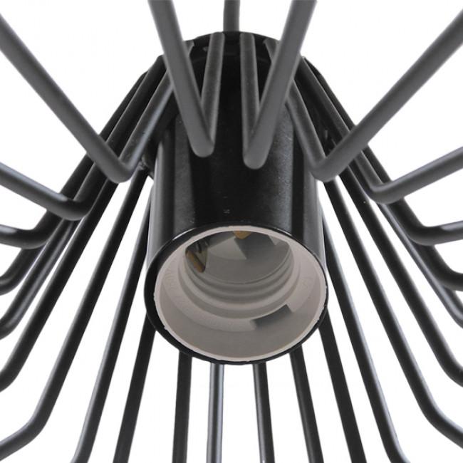 Vintage Industrial Κρεμαστό Φωτιστικό Οροφής Μονόφωτο Μαύρο Μεταλλικό Πλέγμα Καμπάνα Φ30 GloboStar TERE 01165 - 8