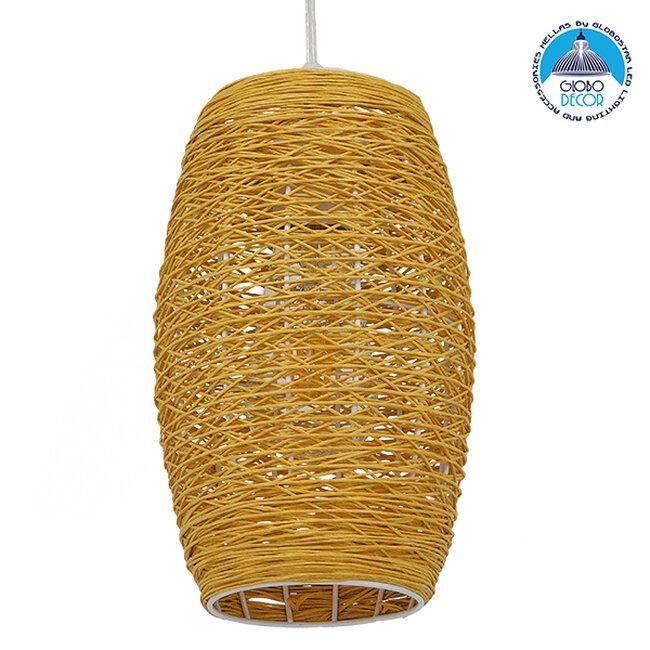 Vintage Κρεμαστό Φωτιστικό Οροφής Μονόφωτο Καφέ Ξύλινο Bamboo Φ15  SAO PAULO 01631 - 1