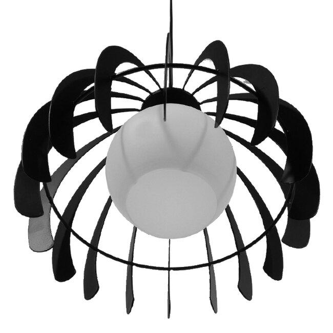 Μοντέρνο Κρεμαστό Φωτιστικό Οροφής Μονόφωτο Μαύρο Μεταλλικό Πλέγμα με Λευκό Γυαλί Φ26  INGLEY 01226 - 7