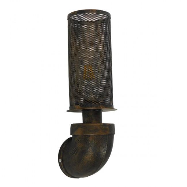 Vintage Industrial Φωτιστικό Τοίχου Απλίκα Μονόφωτο Μαύρο Μεταλλικό Πλέγμα Φ10 GloboStar RAZA 01105 - 2