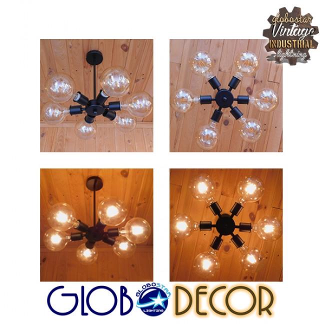 Μοντέρνο Industrial Φωτιστικό Οροφης Πολύφωτο Μαύρο Μεταλλικό Φ24 GloboStar CONFOR 01036 - 6