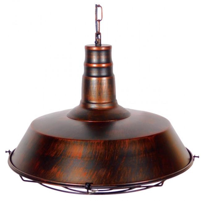 Vintage Industrial Κρεμαστό Φωτιστικό Οροφής Μονόφωτο Καφέ Σκουριά Μεταλλικό Καμπάνα Φ46 GloboStar BARN IRON RUST 01045 - 4