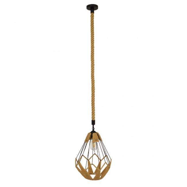 Vintage Κρεμαστό Φωτιστικό Οροφής Μονόφωτο Πλέγμα με Μπεζ Σχοινί Φ31 GloboStar CONICAL 01617 - 2
