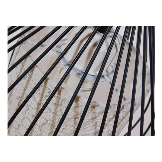 Μοντέρνο Κρεμαστό Φωτιστικό Οροφής Μονόφωτο Μαύρο Μεταλλικό Πλέγμα με Υφασμάτινο Εσωτερικό Καπέλο Φ21 GloboStar THYDA 01197 - 8