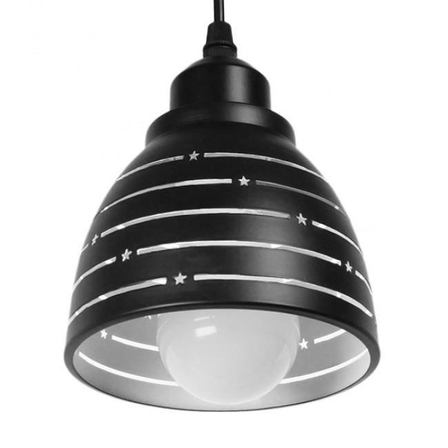Μοντέρνο Κρεμαστό Φωτιστικό Οροφής Μονόφωτο Μεταλλικό Μαύρο Λευκό Καμπάνα Φ13 GloboStar LINE STARS 01483 - 5