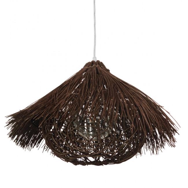 Vintage Κρεμαστό Φωτιστικό Οροφής Μονόφωτο Καφέ Σκούρο Ξύλινο Ψάθινο Rattan Φ50 GloboStar MAGIE 01600