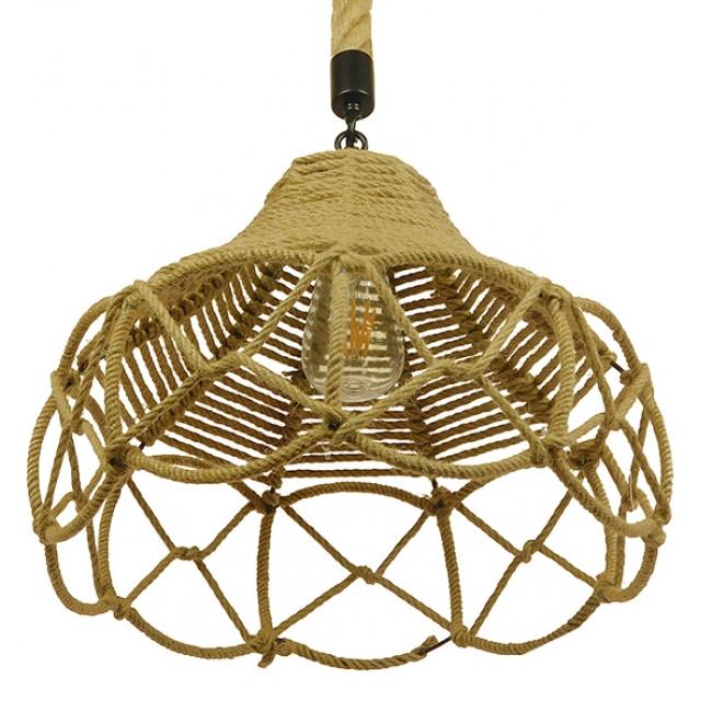 Vintage Κρεμαστό Φωτιστικό Οροφής Μονόφωτο Πλέγμα με Μπεζ Σχοινί Φ39 GloboStar TESSUTI 01614 - 7