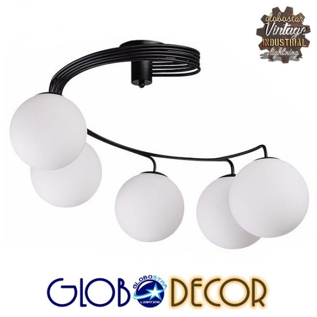 Μοντέρνο Φωτιστικό Οροφής Πολύφωτο Μαύρο Μεταλλικό με Λευκό Γυαλί Φ63  SELINA 01090 - 2