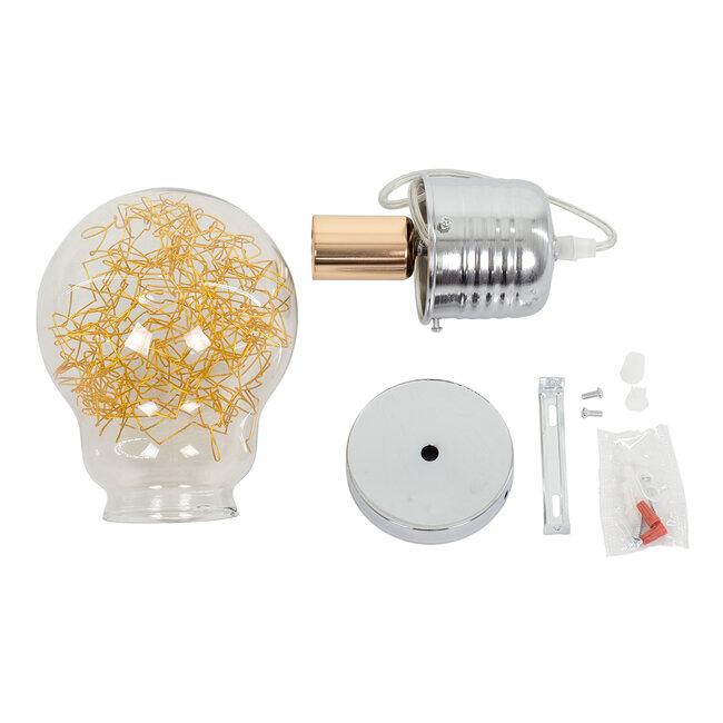 LAMP 00807 Μοντέρνο Κρεμαστό Φωτιστικό Οροφής Μονόφωτο Ασημί Νίκελ Βάση και Χρυσό Ντουί Μεταλλικό Διάφανο Γυαλί Φ15 x Υ27cm - 8