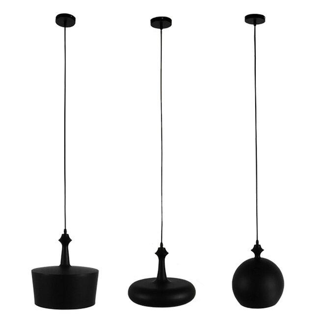 SET 3 Μοντέρνα Κρεμαστά Φωτιστικά Οροφής Μονόφωτα Μαύρα Μεταλλικά Καμπάνα  ROCKFORD 01287 - 2