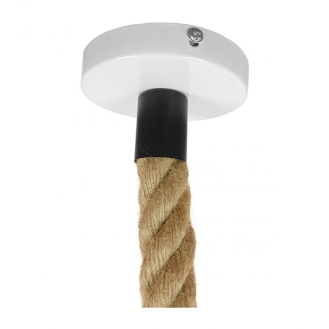 Vintage Industrial Κρεμαστό Φωτιστικό Οροφής Μονόφωτο Λευκό Ματ Μεταλλικό Καμπάνα Πλέγμα με Μπεζ Σχοινί Φ36 GloboStar NARANZA 01409 - 8