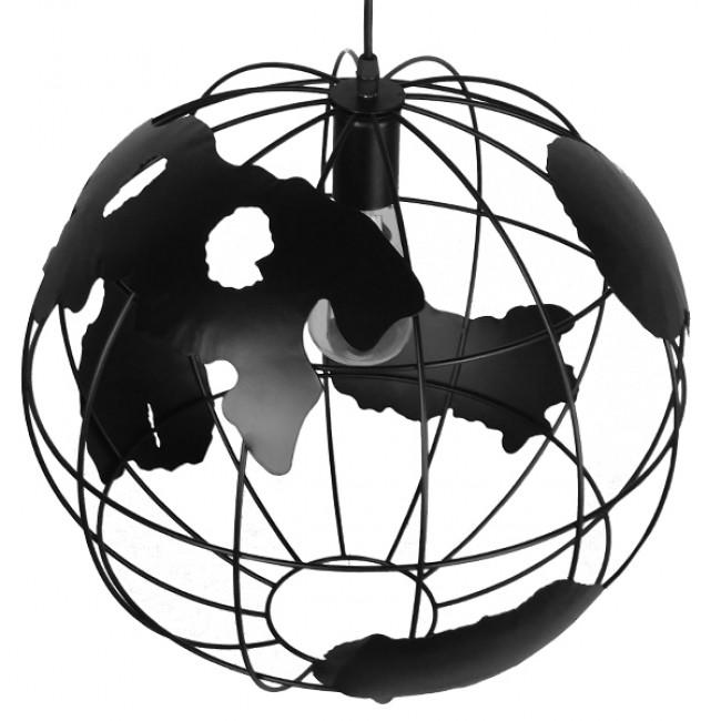 Vintage Industrial Κρεμαστό Φωτιστικό Οροφής Μονόφωτο Μαύρο Μεταλλικό Πλέγμα Φ40 GloboStar EARTH BLACK 40CM 01663 - 4