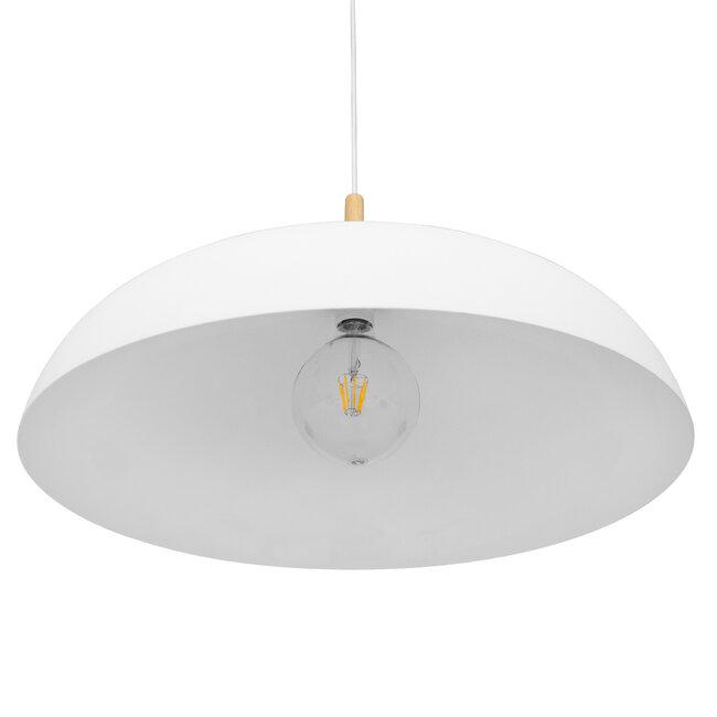 GloboStar® ZOE 00837 Μοντέρνο Κρεμαστό Φωτιστικό Οροφής Μονόφωτο Λευκό Μεταλλικό Καμπάνα Φ60 x Υ35cm - 4