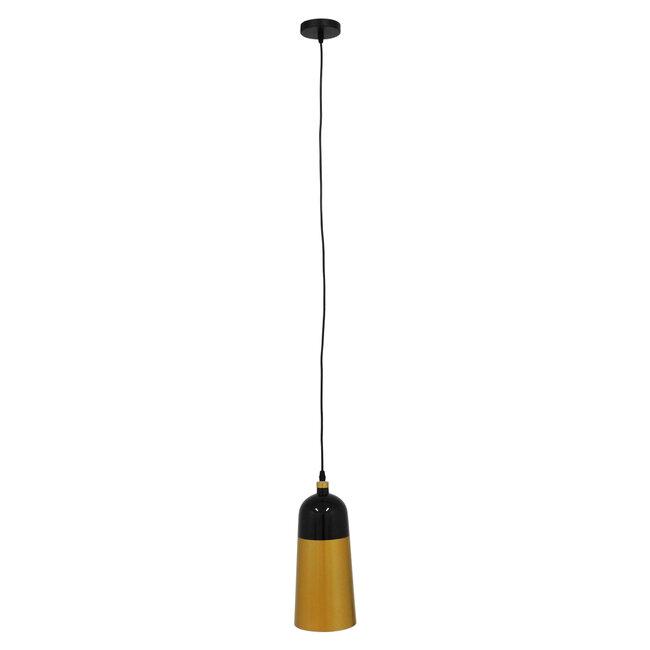 Μοντέρνο Κρεμαστό Φωτιστικό Οροφής Μονόφωτο Μαύρο - Χρυσό Μεταλλικό Καμπάνα Φ14  PALAZZO GOLD BLACK 01523 - 4